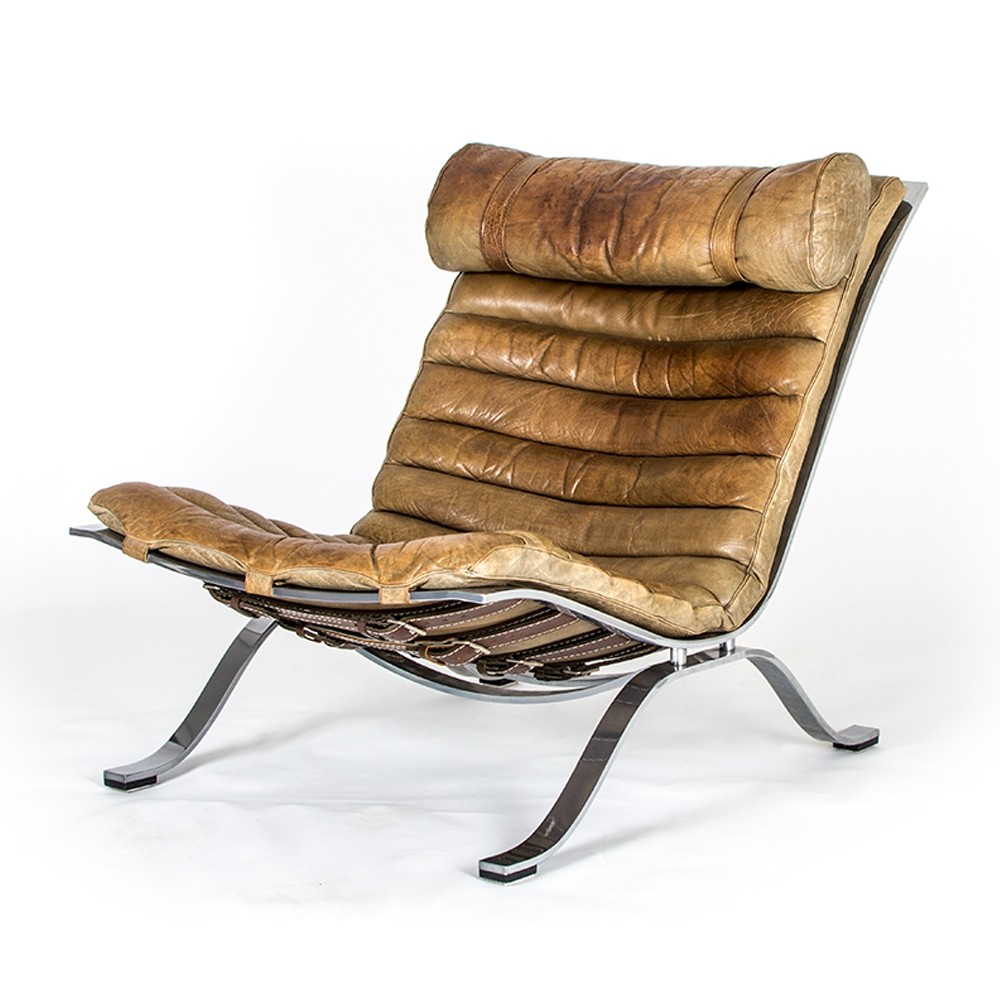 Buffalo leather Ari chair by Arne Norell for Norell Möbel