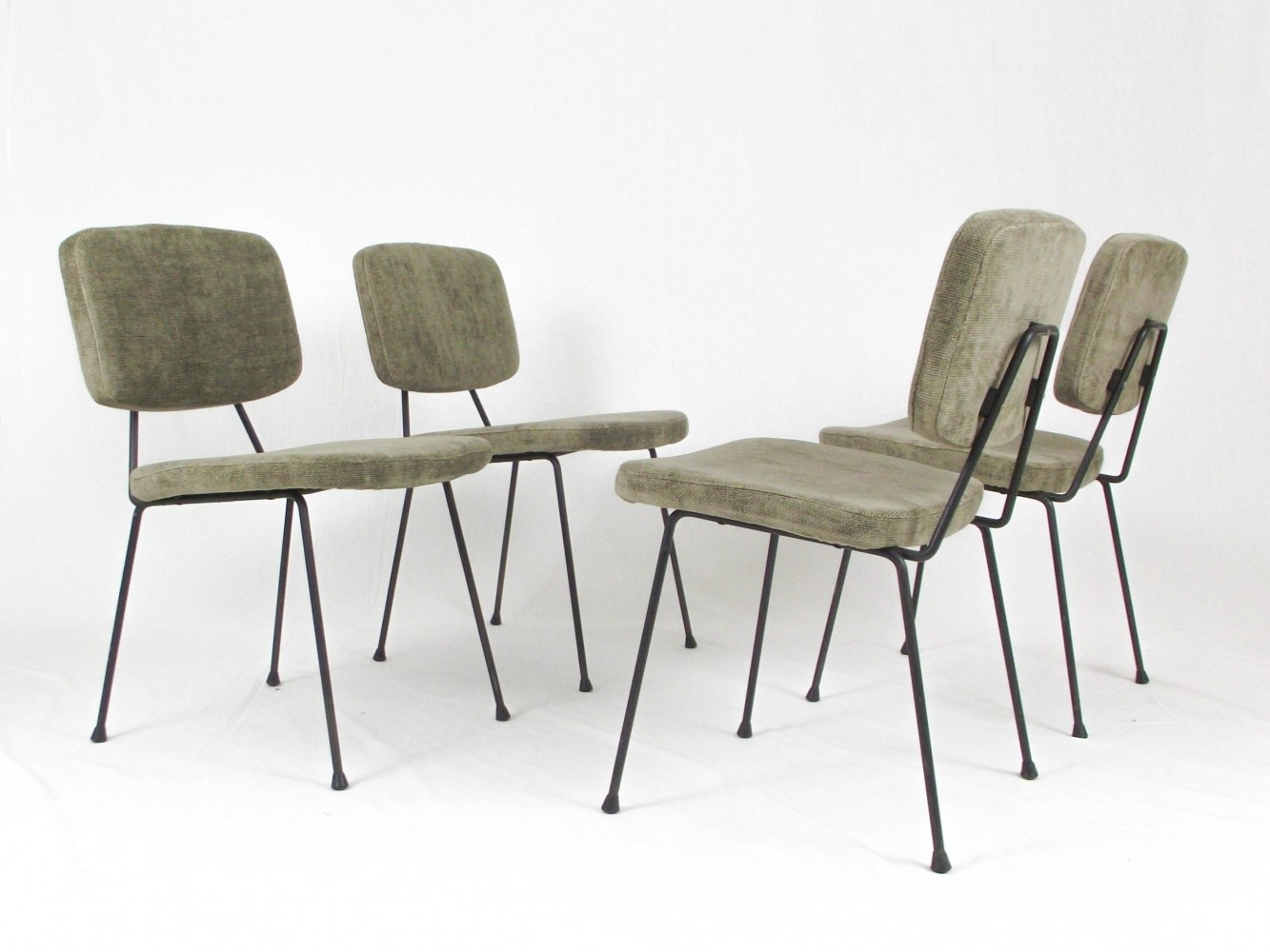 Set of 4 CM 196 dining chairs by Pierre Paulin for Thonet, 1950s