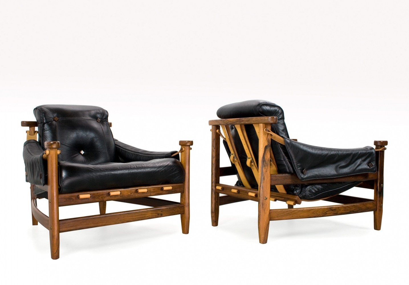 Jean Gillon Leather Bertioga Chairs, Brazil 1960s