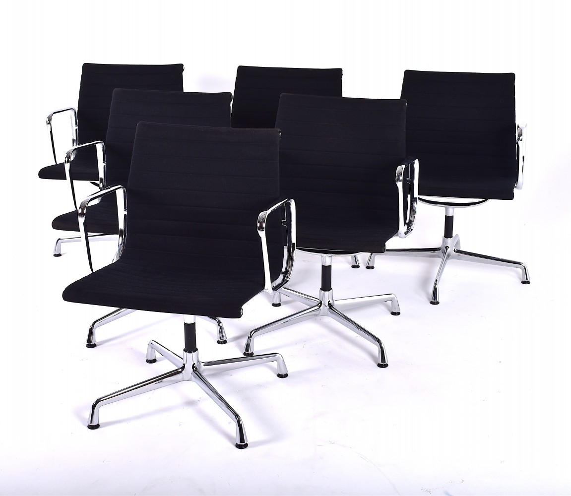 set of 6 ea 108 office chairs by charles ray eames for vitra 1980s 78547. Black Bedroom Furniture Sets. Home Design Ideas
