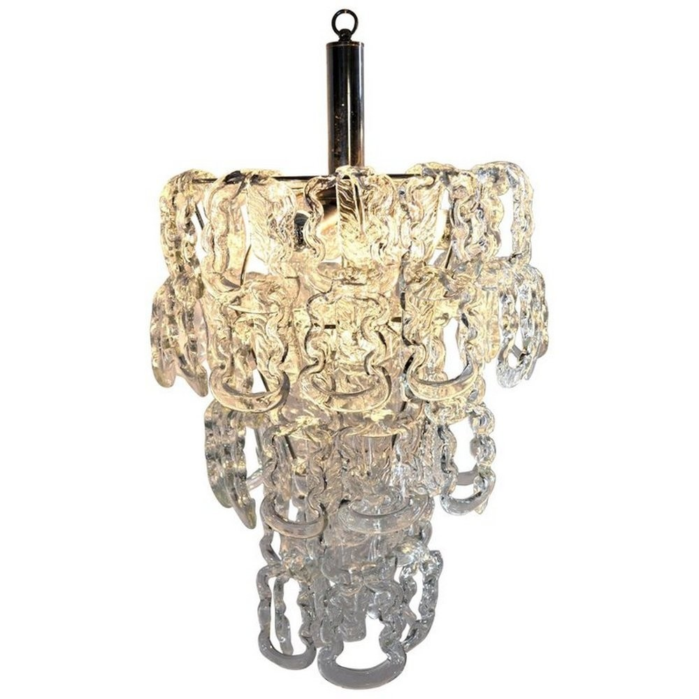 Iconic chandelier by Mangiarotti in Murano glass, 1960s