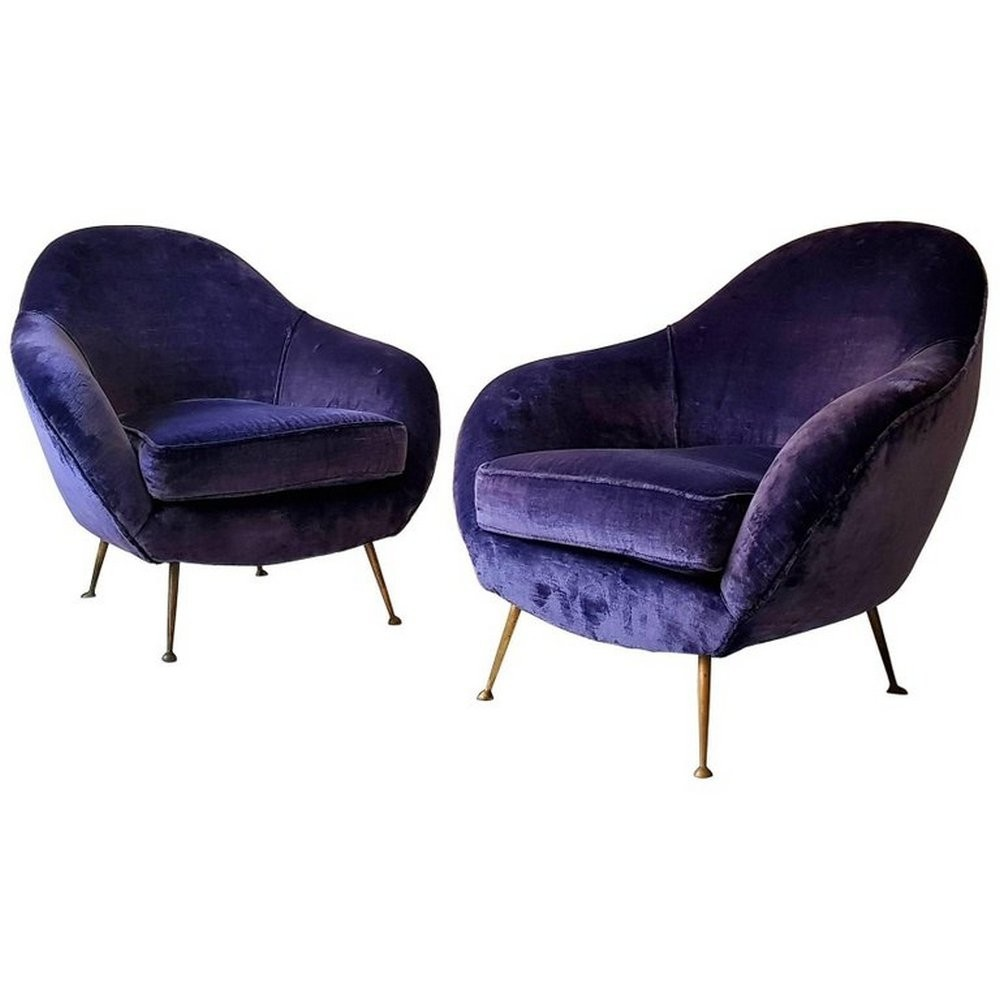 Pair of Italian armchairs with purple velvet upholstery, 1950s