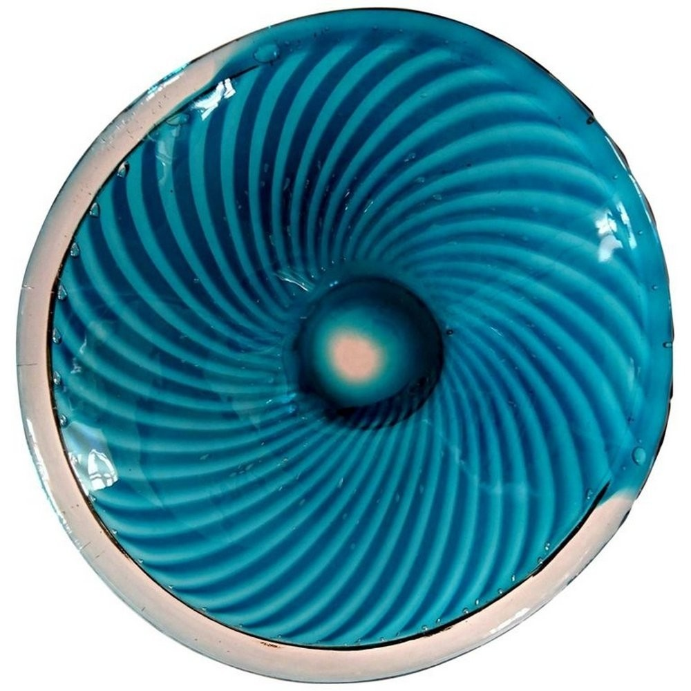 Handblown glass bowl by Gullaskruf with stripes in blue & clear glass