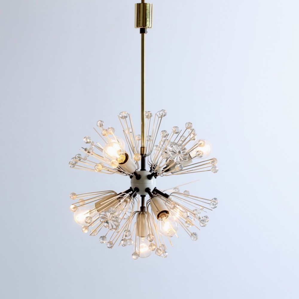 Brass & glass snowball dandelion ceiling light chandelier by Emil Stejnar