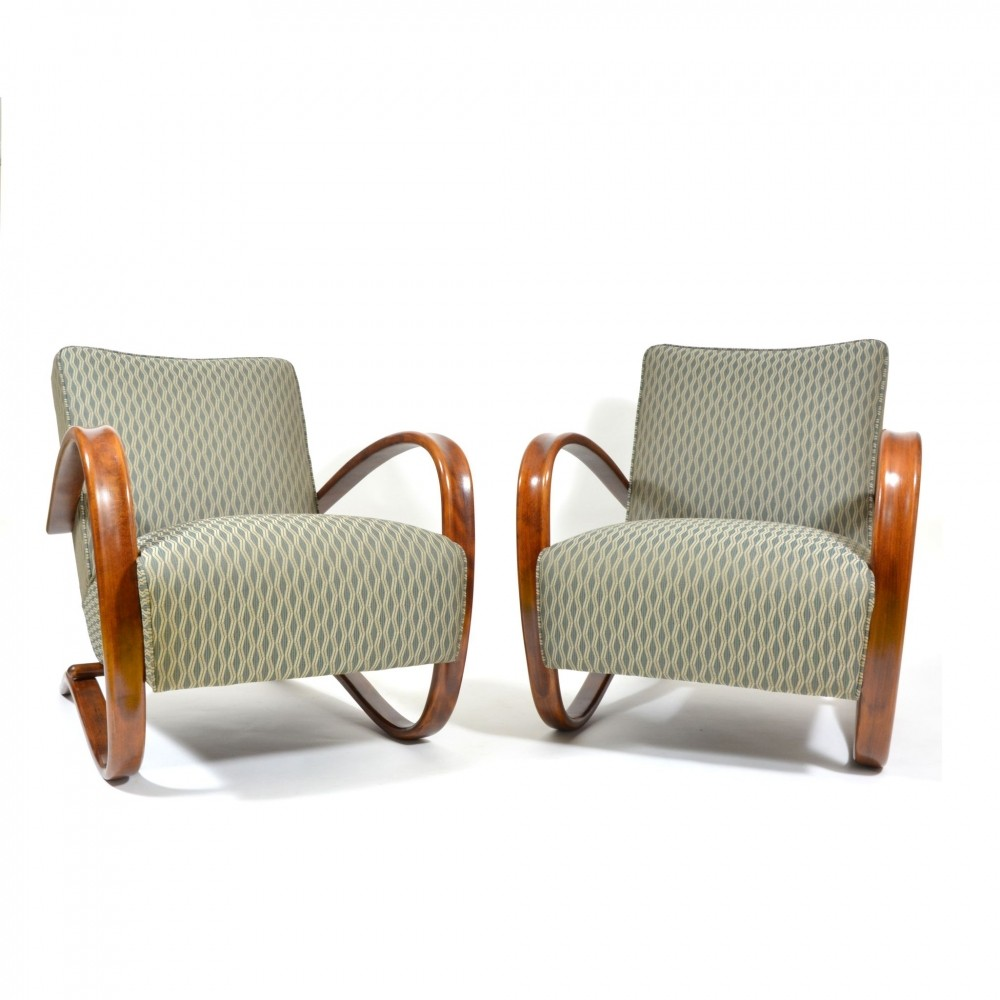 Pair of H269 armchairs from Jindrich Halabala, 1940s