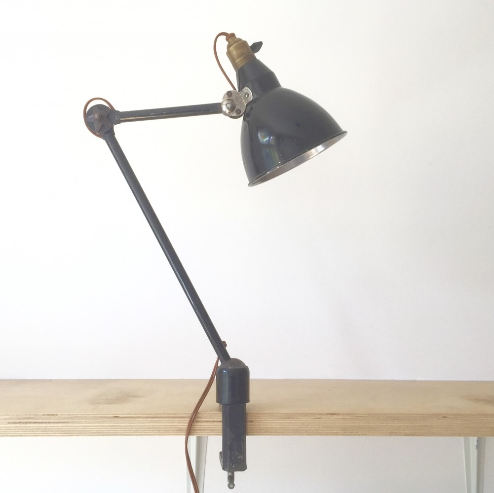 1930s French 2 arm bench/desk clamp lamp by Mazda