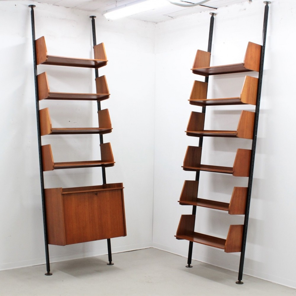 Mid century Italian modular teak bookcases, adjustable in height