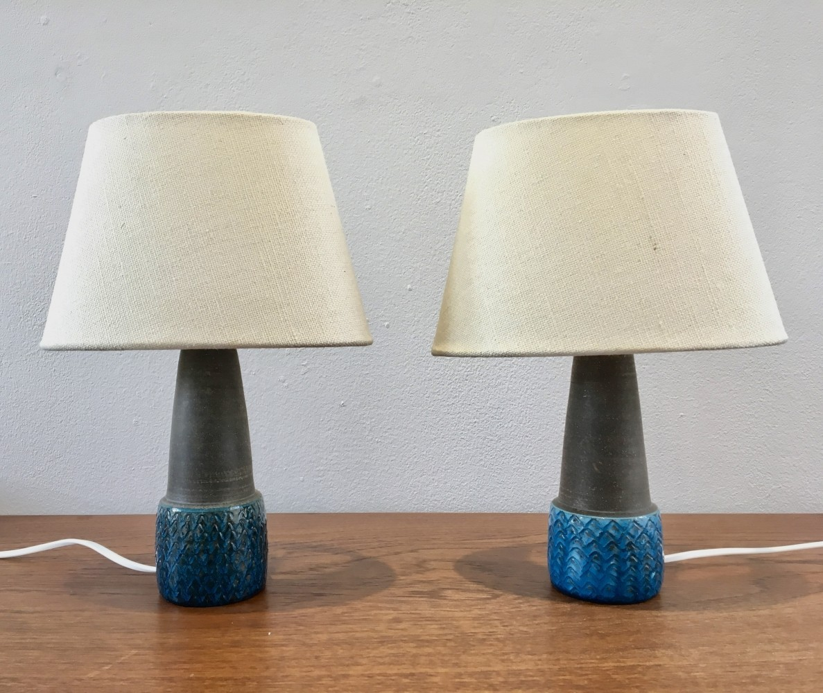 Pair of Small Table Lamps with Turquoise Colored Glazing by Nils Kähler, Denmark