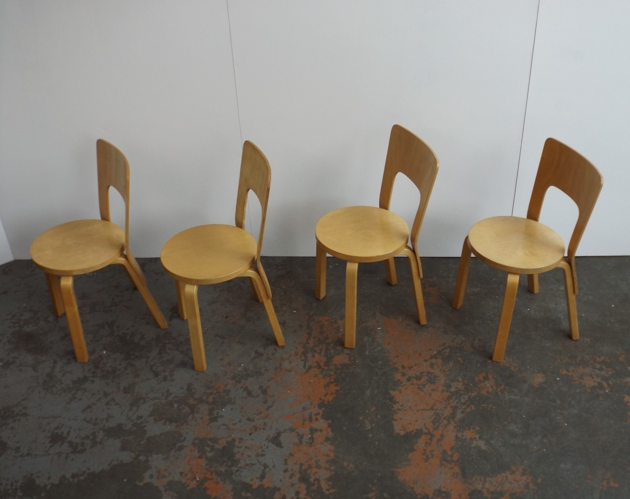 Set of 4 Model 66 dinner chairs by Alvar Aalto for Artek, 1980s