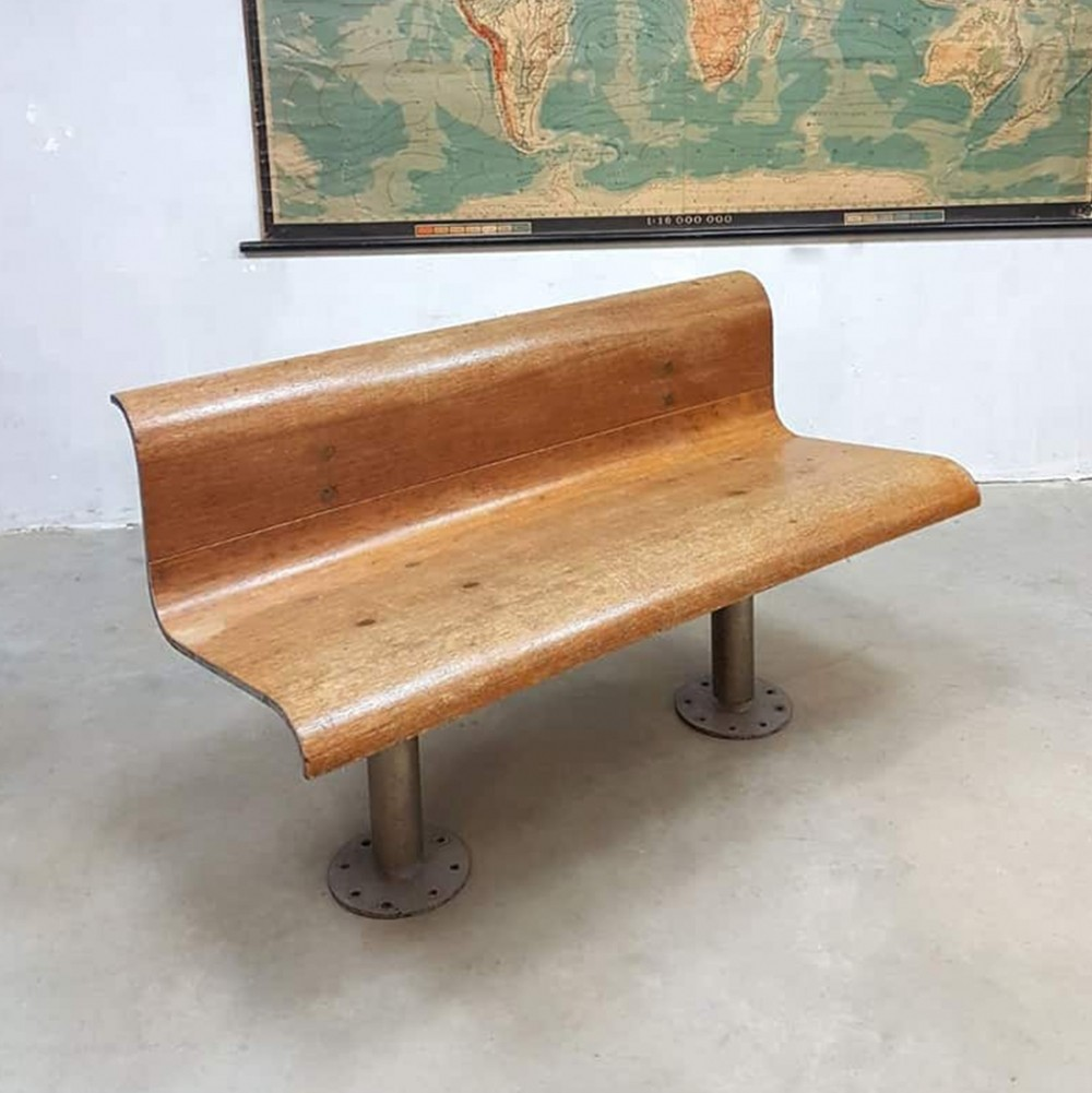 French Industrial train bench