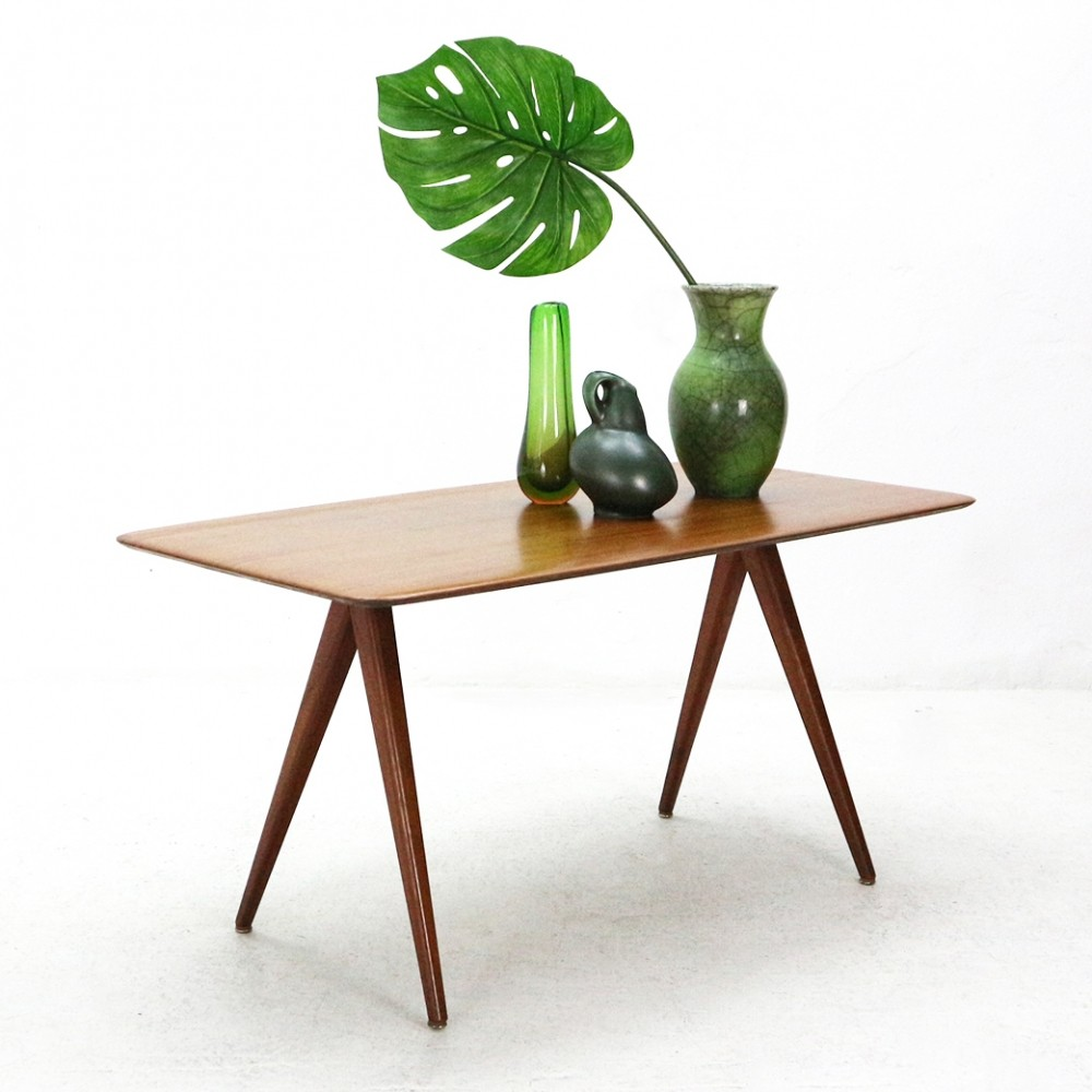 Wilhelm Renz Teak Coffee Table with Scissors Feet, 1950s