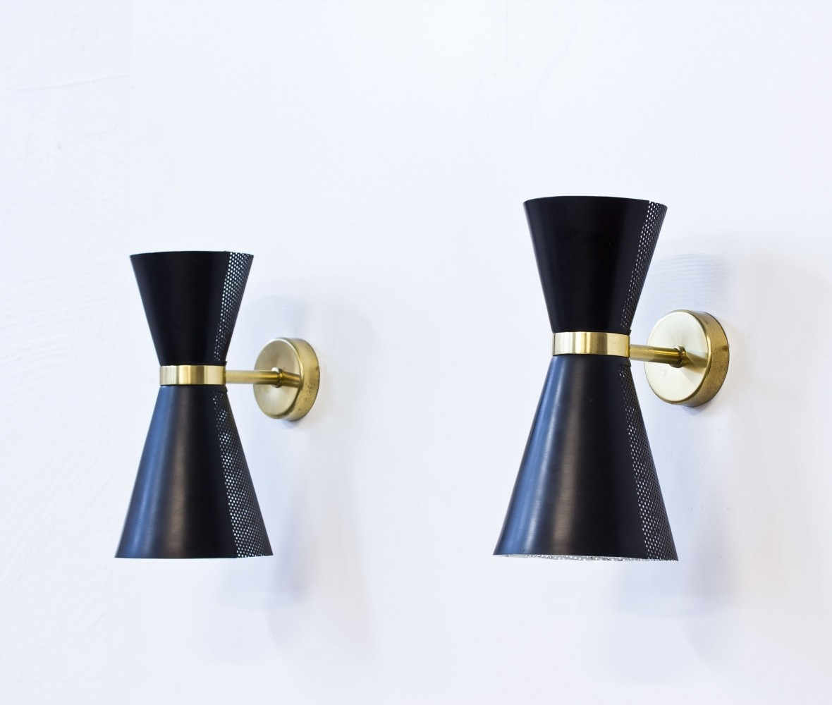 Pair of Swedish Wall Lamps by Falkenbergs Belysning, 1950s