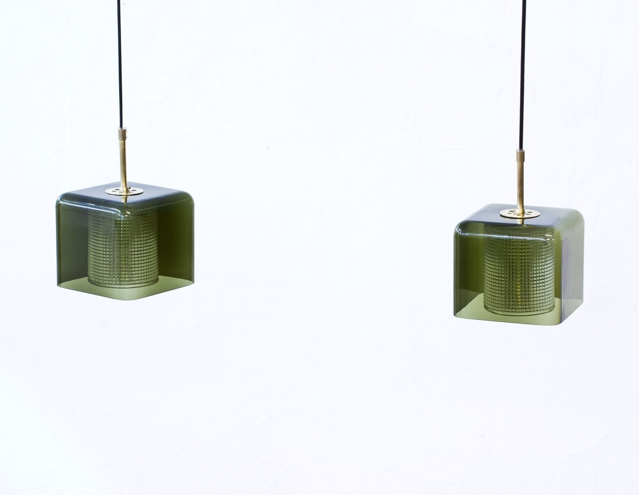 Pair of Brass & Glass Pendant Lamps by Carl Fagerlund for Orrefors, Sweden, 1960