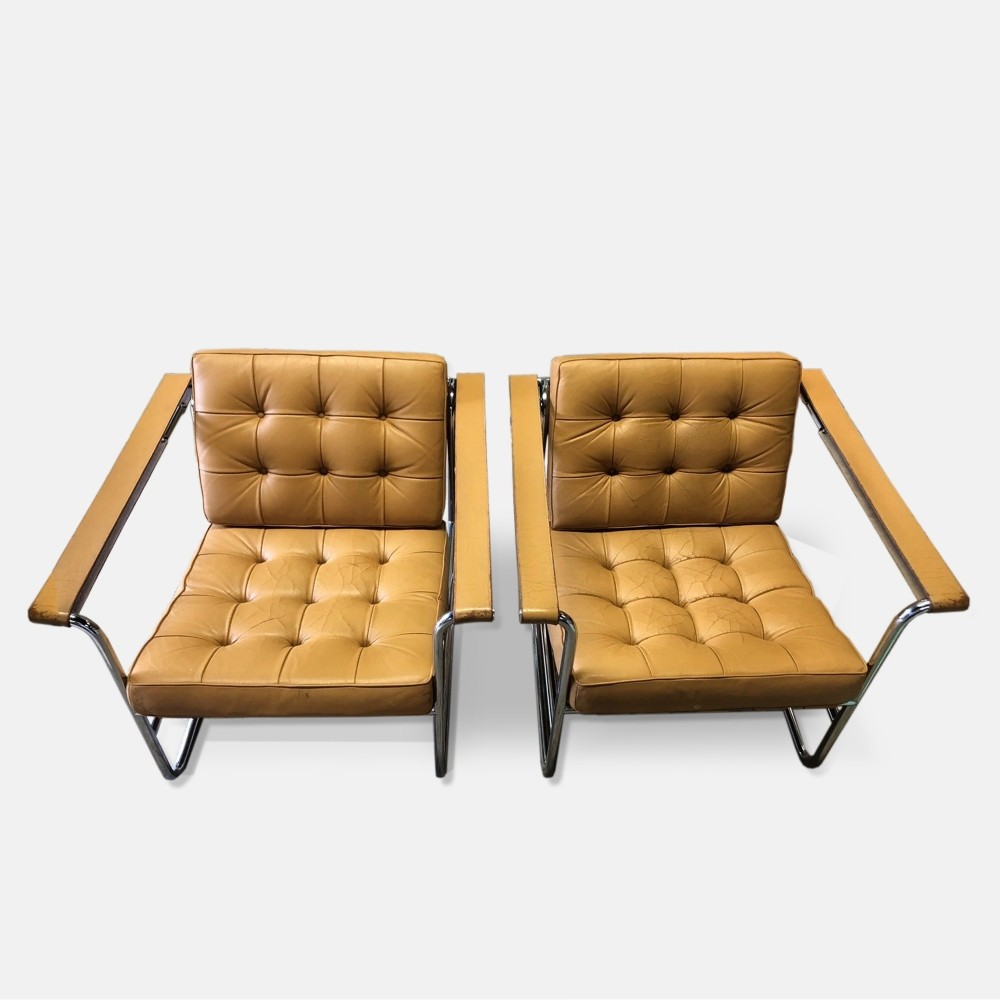 Pair of Very Rare early De Sede HE-113 Ledersessel lounge Chairs by Hans Eichenberger