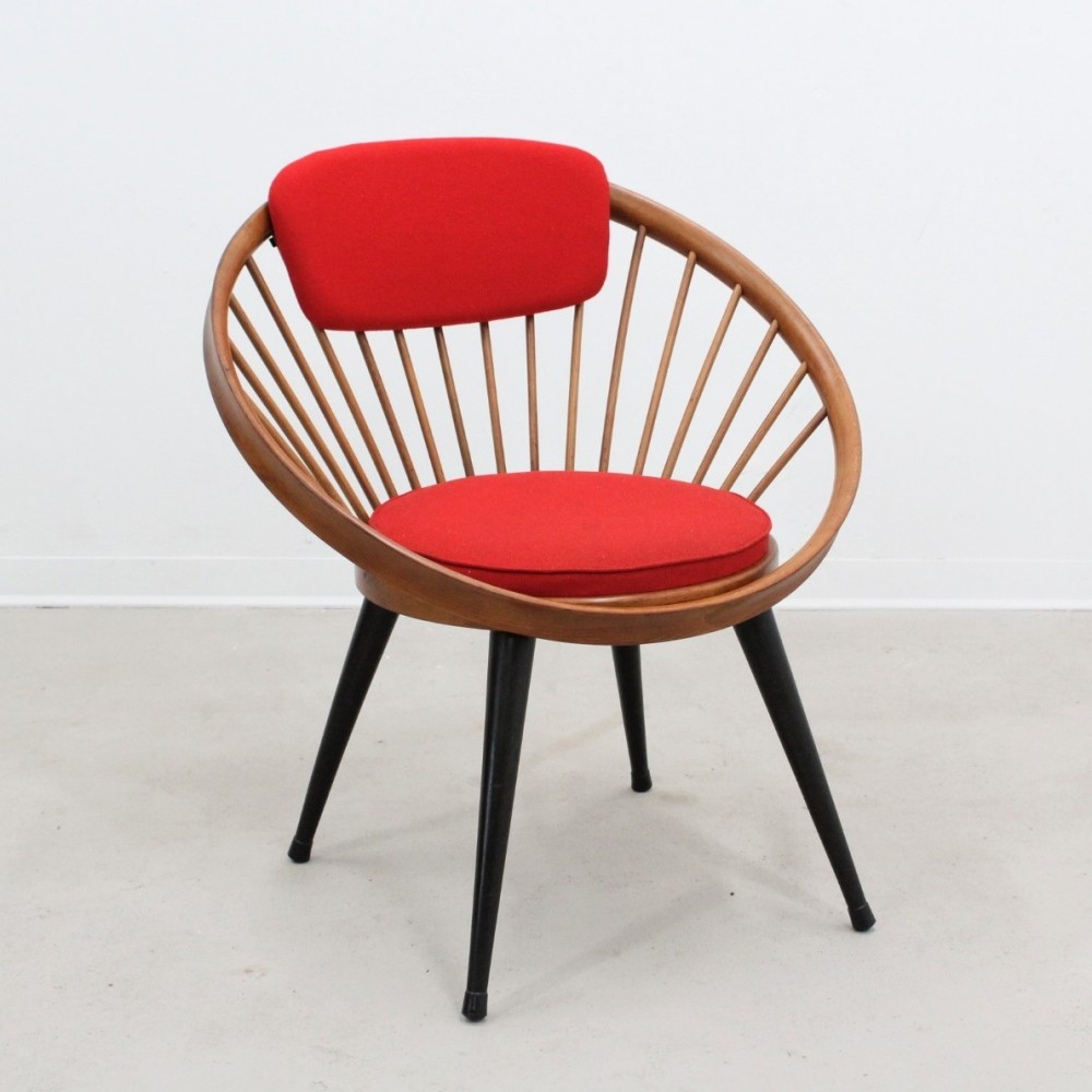 Vintage circle hoop chair by Yngve Ekstrom, 1960s