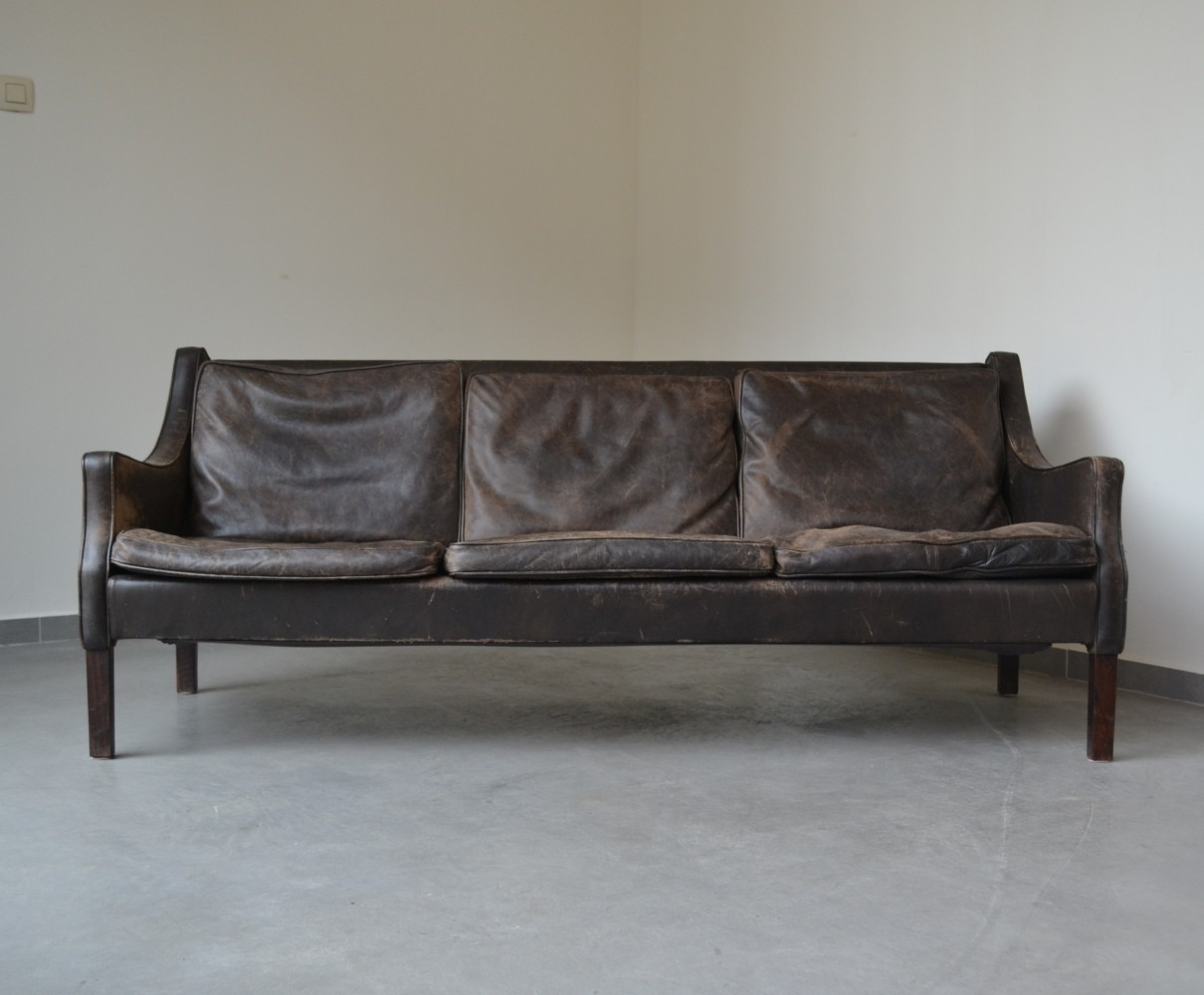 Brown leather three-seater sofa from Denmark, 1960