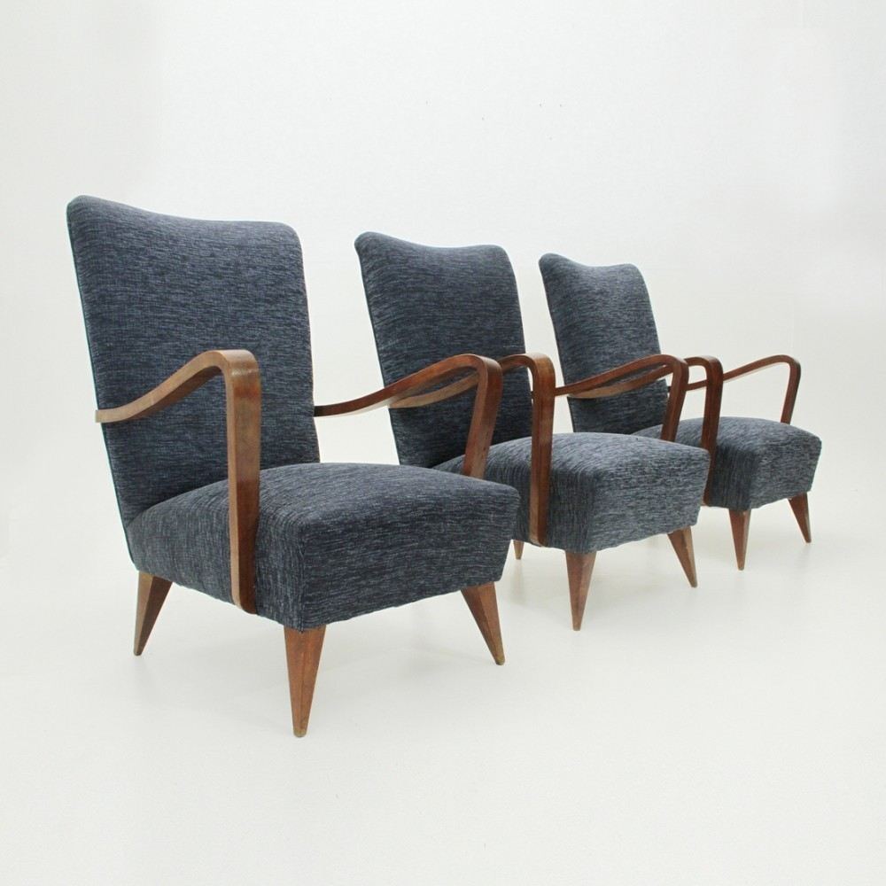 Set of 3 vintage arm chairs, 1940s