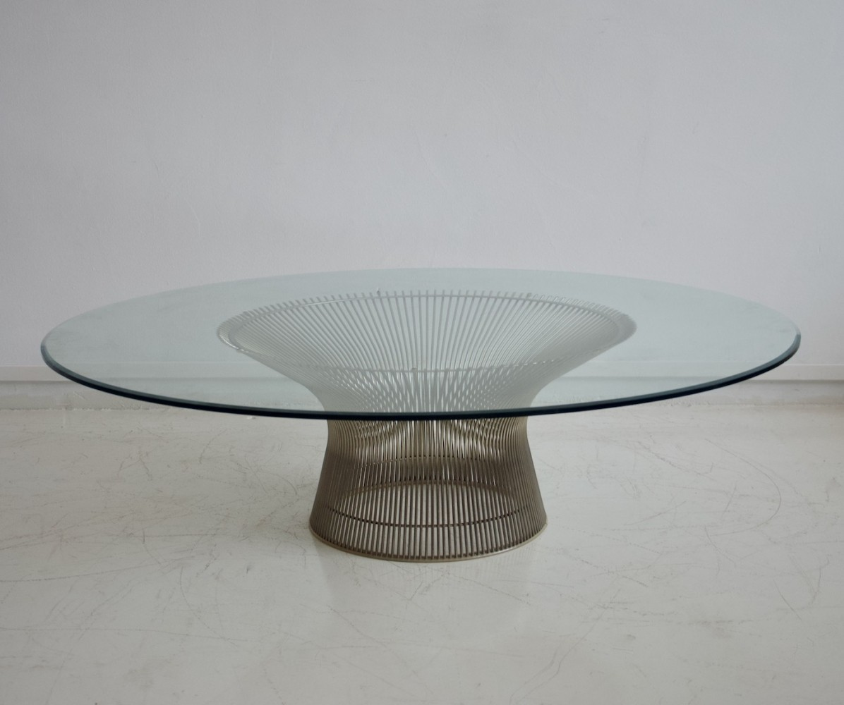 Warren Platner for Knoll International Wire & Round Glass Coffee Table