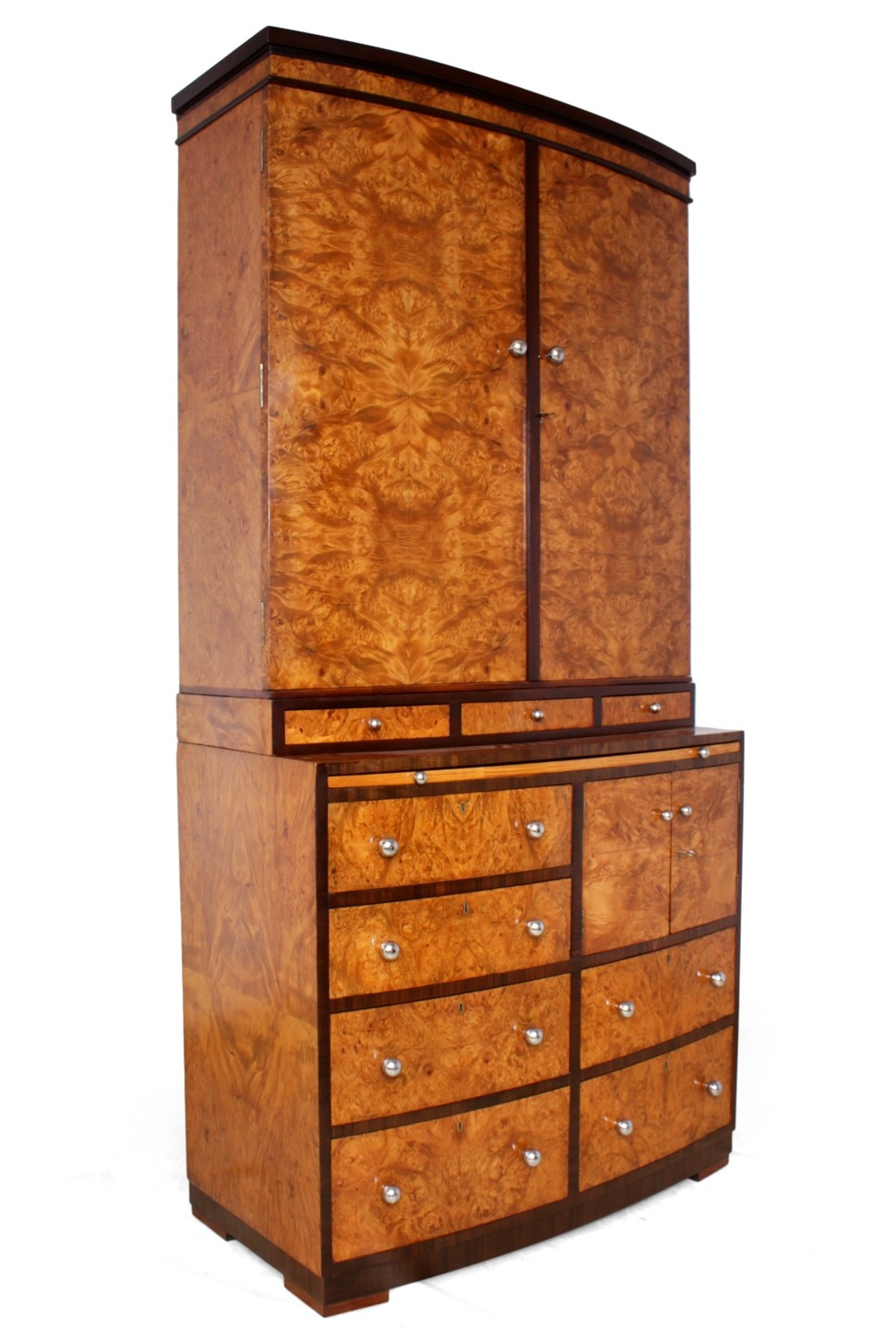 Art Deco Cabinet with Bookcase & Drawers in Burr Maple