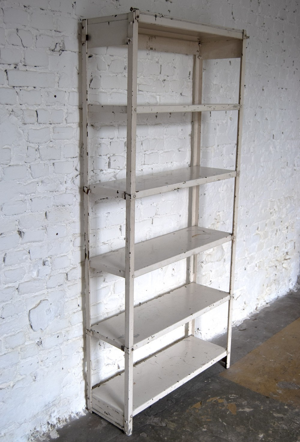 30s Industrial painted Iron Freestanding Shelf