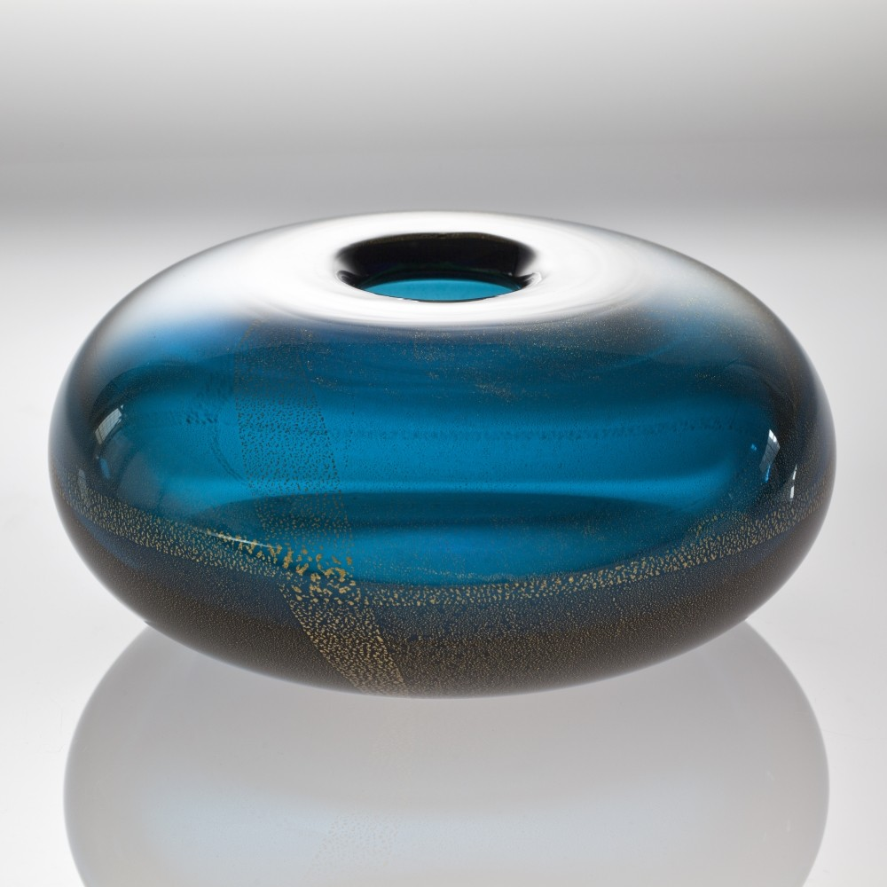 Blue glass vase with gold foil by Laura Diaz de Santillana for Venini, 1985