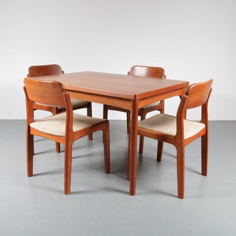 1960s Scandinavian dining set by Henning Kjærnulf for Vejle Stolefabrik