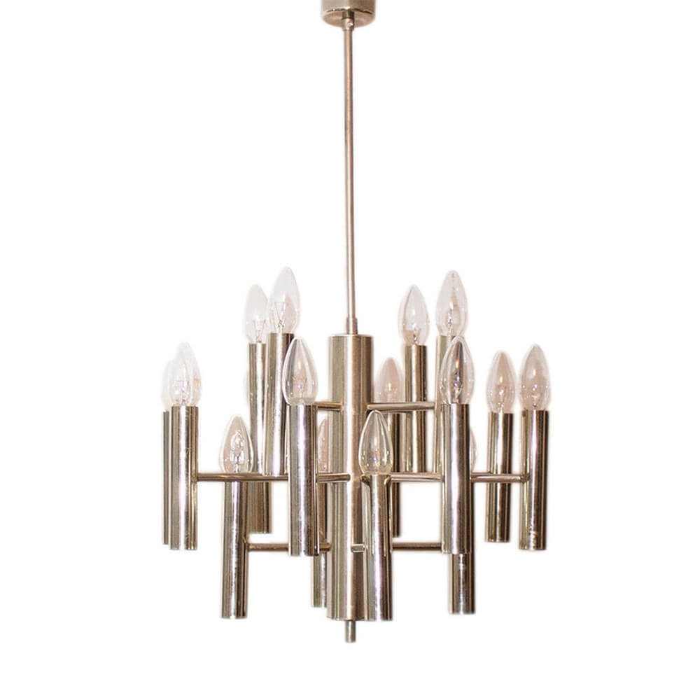 Sixteen-light geometrical chrome chandelier (Sputnik), Italy 1960s