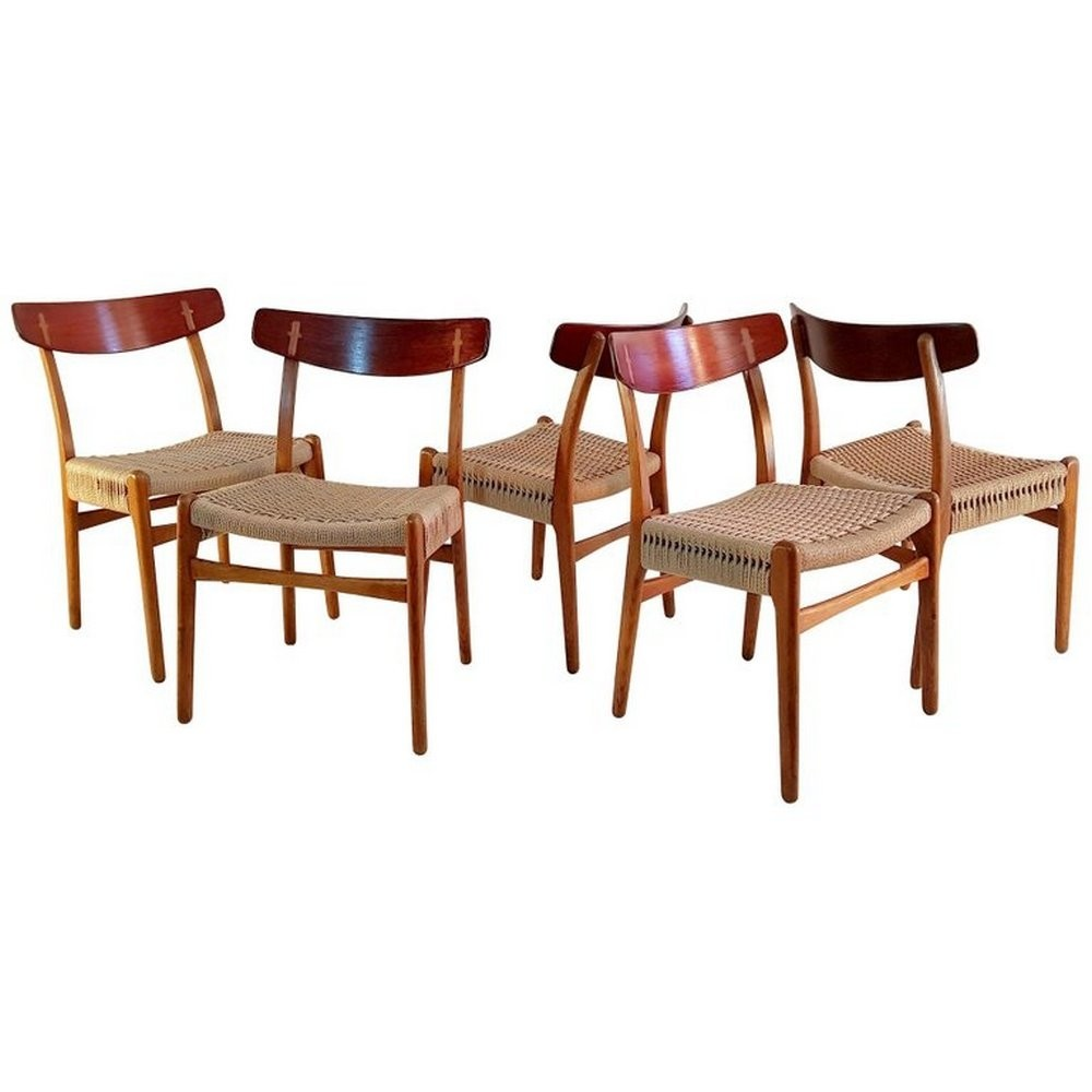 Set of 5 CH 23 dining chairs by Hans Wegner for Carl Hansen & Son, 1950s