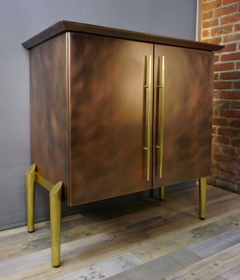 Belgo Chrom Design bar cabinet from the 70s in brass & copper metal