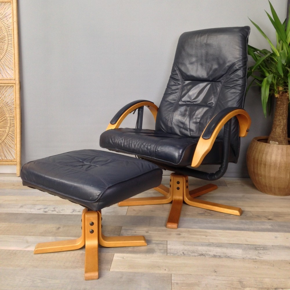 Relax leather armchair & matching ottoman, 1970s