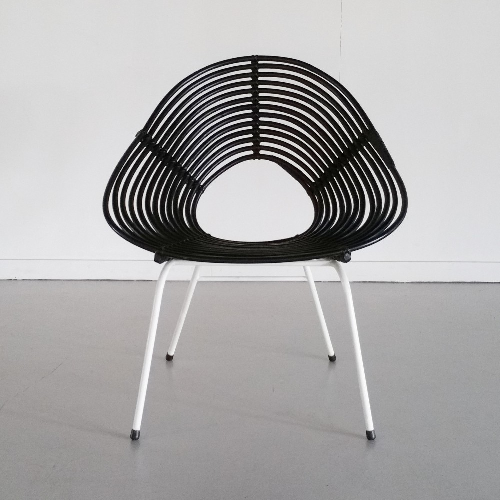 Black Rattan Lounge Chair by Rohé Noordwolde, 1960s