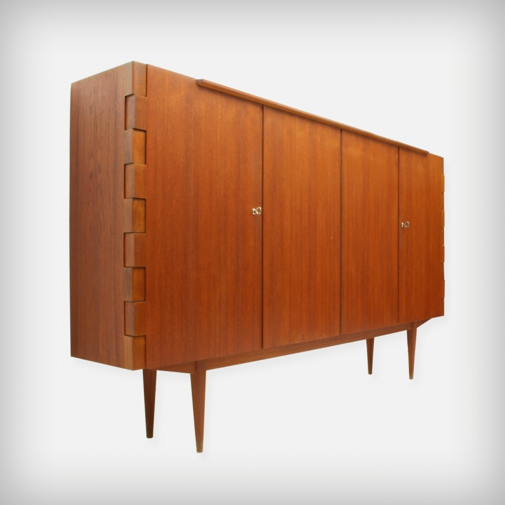 Teak Highboard With Particular Hinge-Joints, 1960s