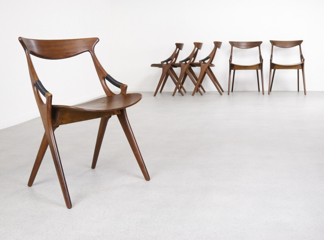 Set of 6 Model 71 dinner chairs by Arne Hovmand Olsen for Mogens Kold, 1950s