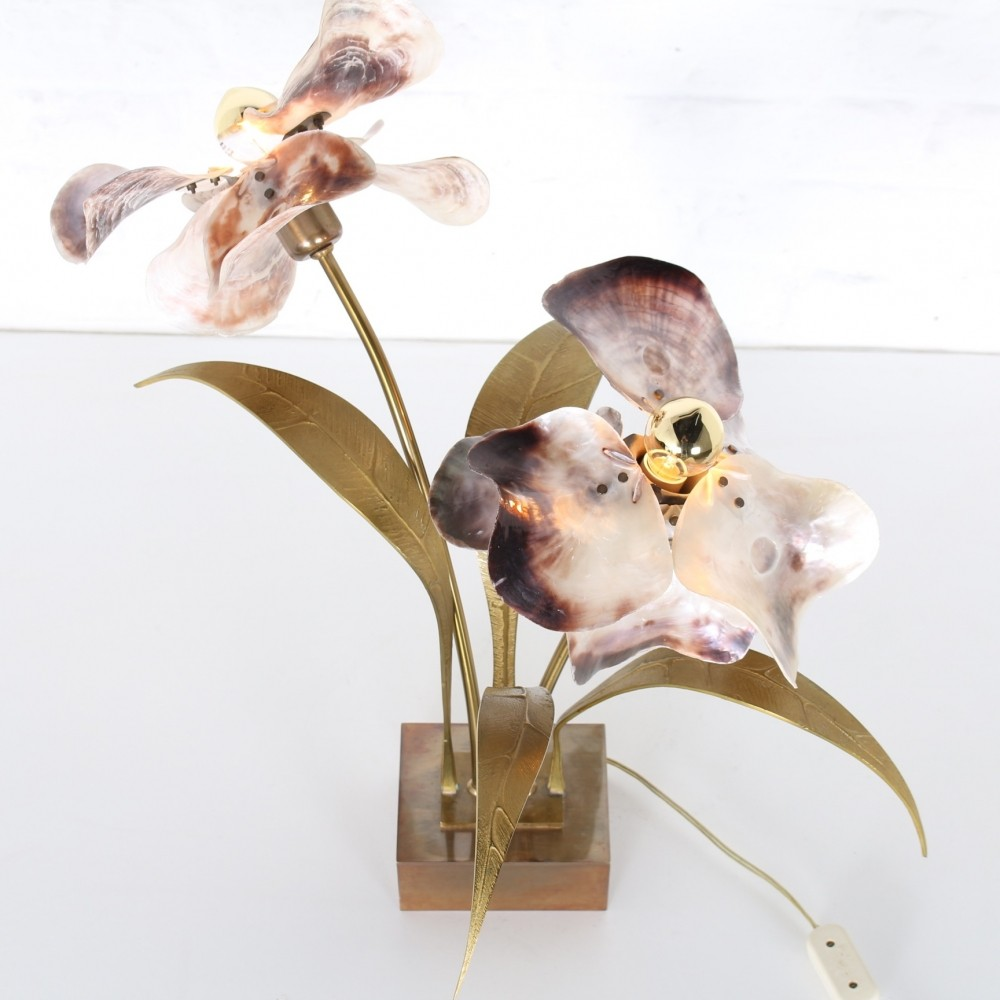 Brass & mother of pearl table flower lamp by Willy Daro