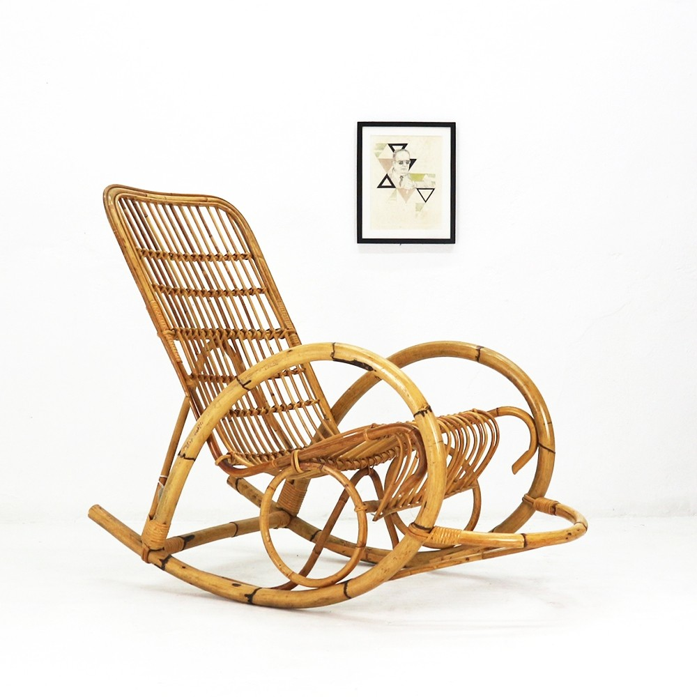 Superieur Vintage Wicker Rocking Chair, 1960s | #83672