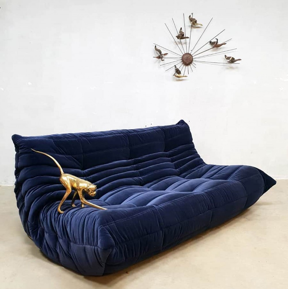 Navy Blue Velvet Togo Sofa By Michel Ducaroy For Ligne Roset France