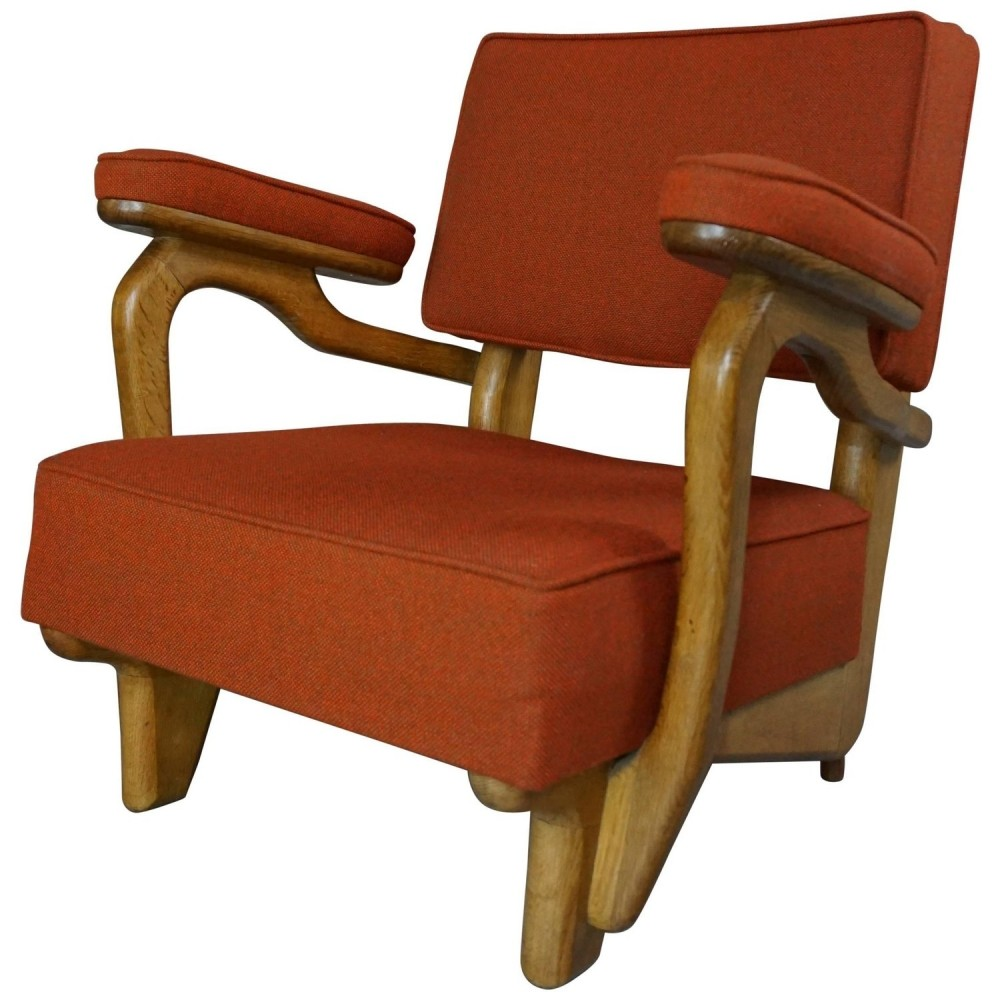 Oak Wooden Pair of Armchairs by Guillerme And Chambron, 1950s