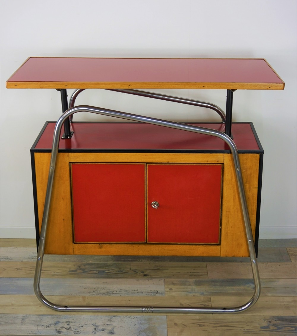 Wood And Red Glass Storage Cabinet, 1950s