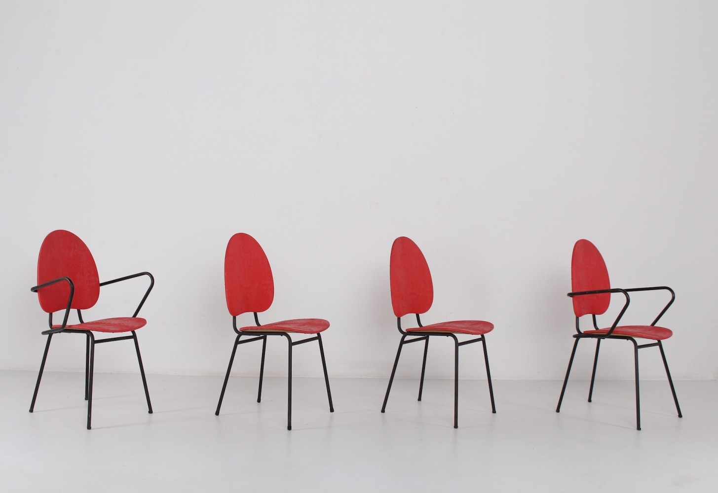 Group of 2 chairs & 2 armchairs by Jacques Hitier