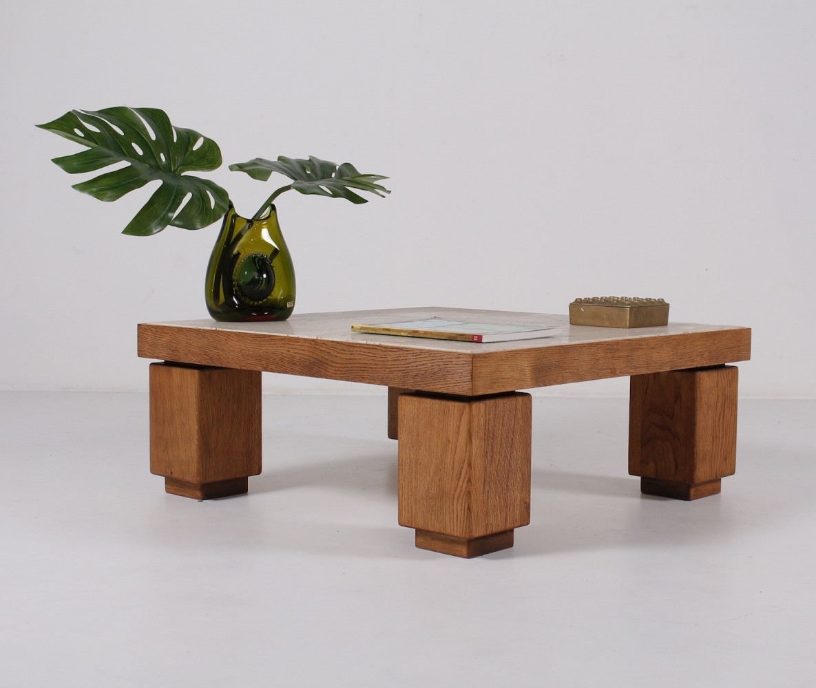 Travertine wood square coffee table, 1970
