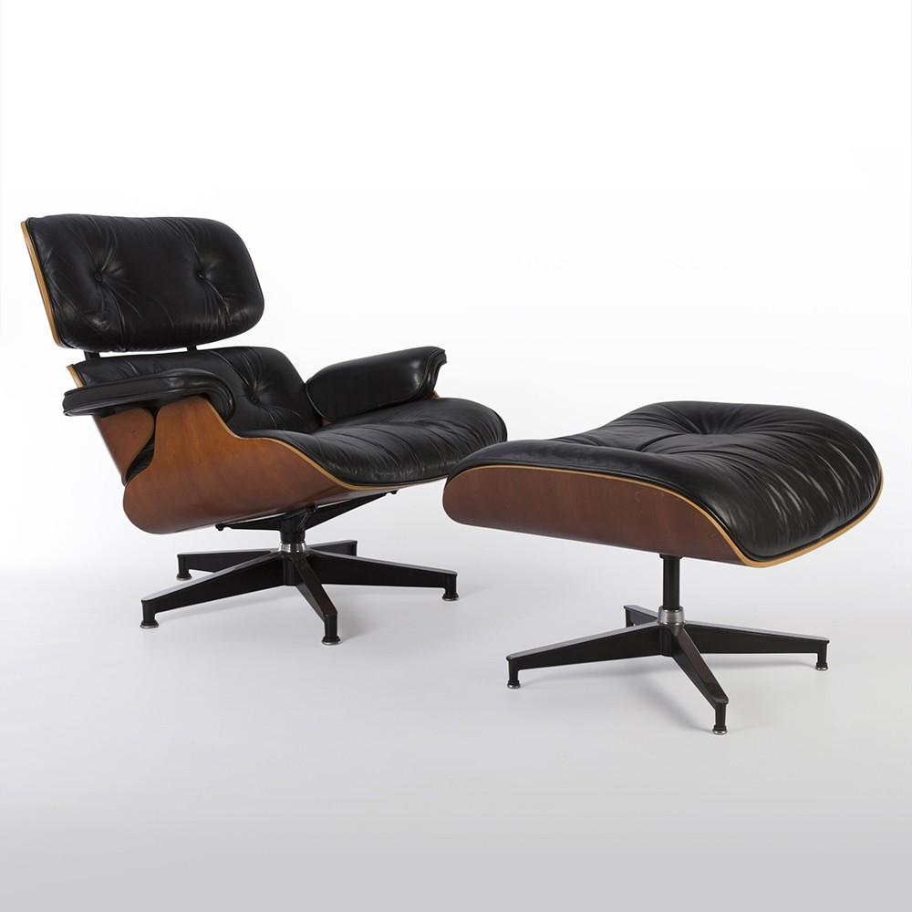 Original Herman Miller Black And Cherry Eames Lounge Chair And Ottoman