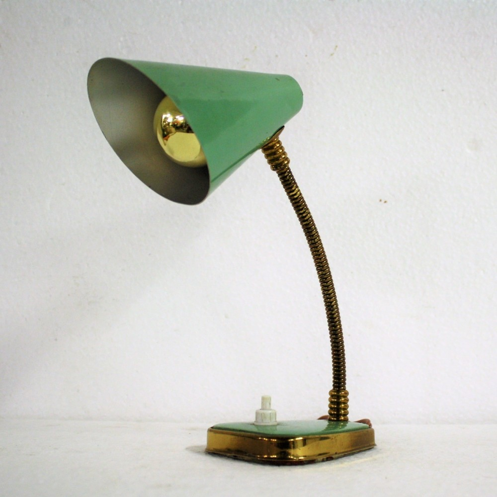 Small green table lamp 1950s, made in Italy