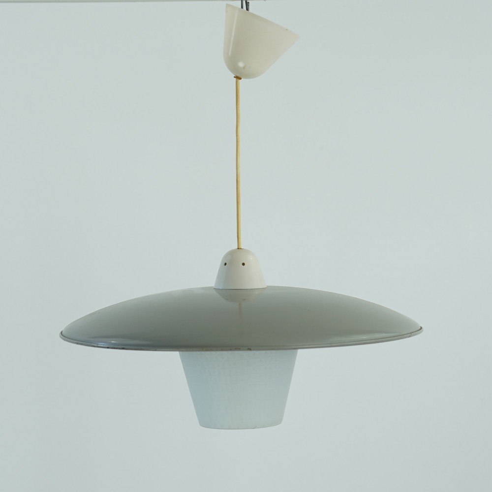 Pendant with glass & grey metal shade, 1960s