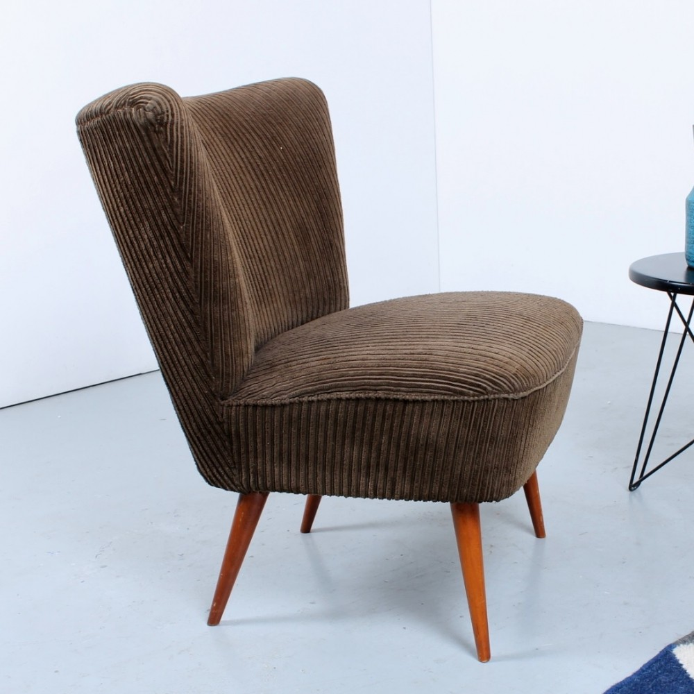 Brown fabric & teak wood club chair, 1950s