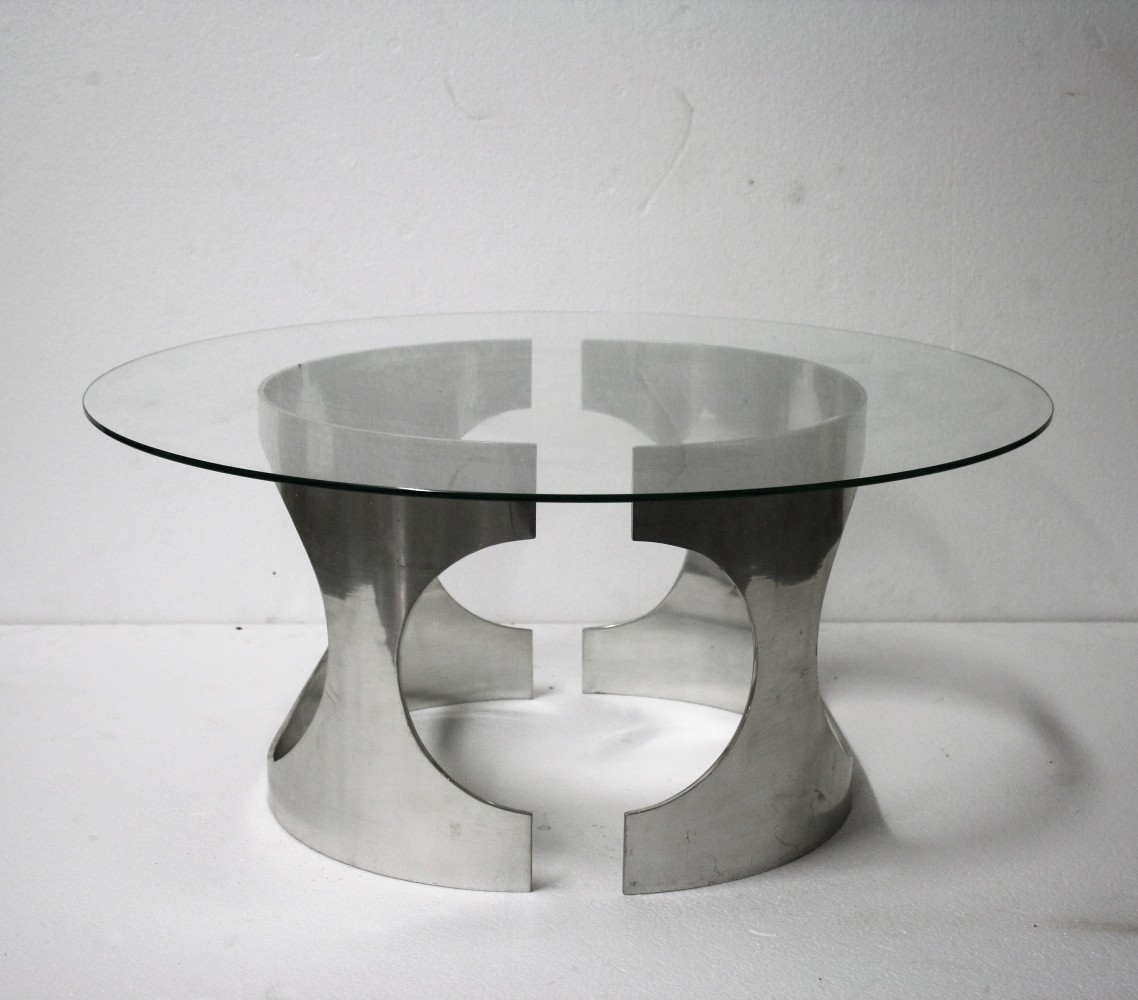Chrome space age coffee table signed