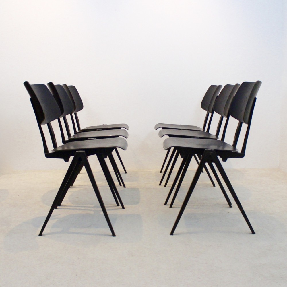 Large Stock of Stackable Galvanitas S16 Industrial Diner Chairs in Wenge, 1960s