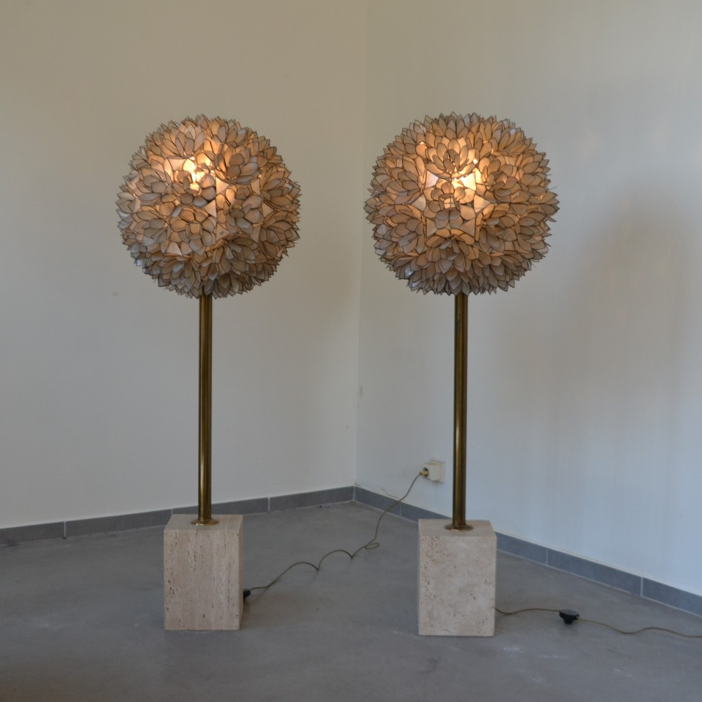 Rare set of two capiz shell floor lamps by Rausch, Germany 1960