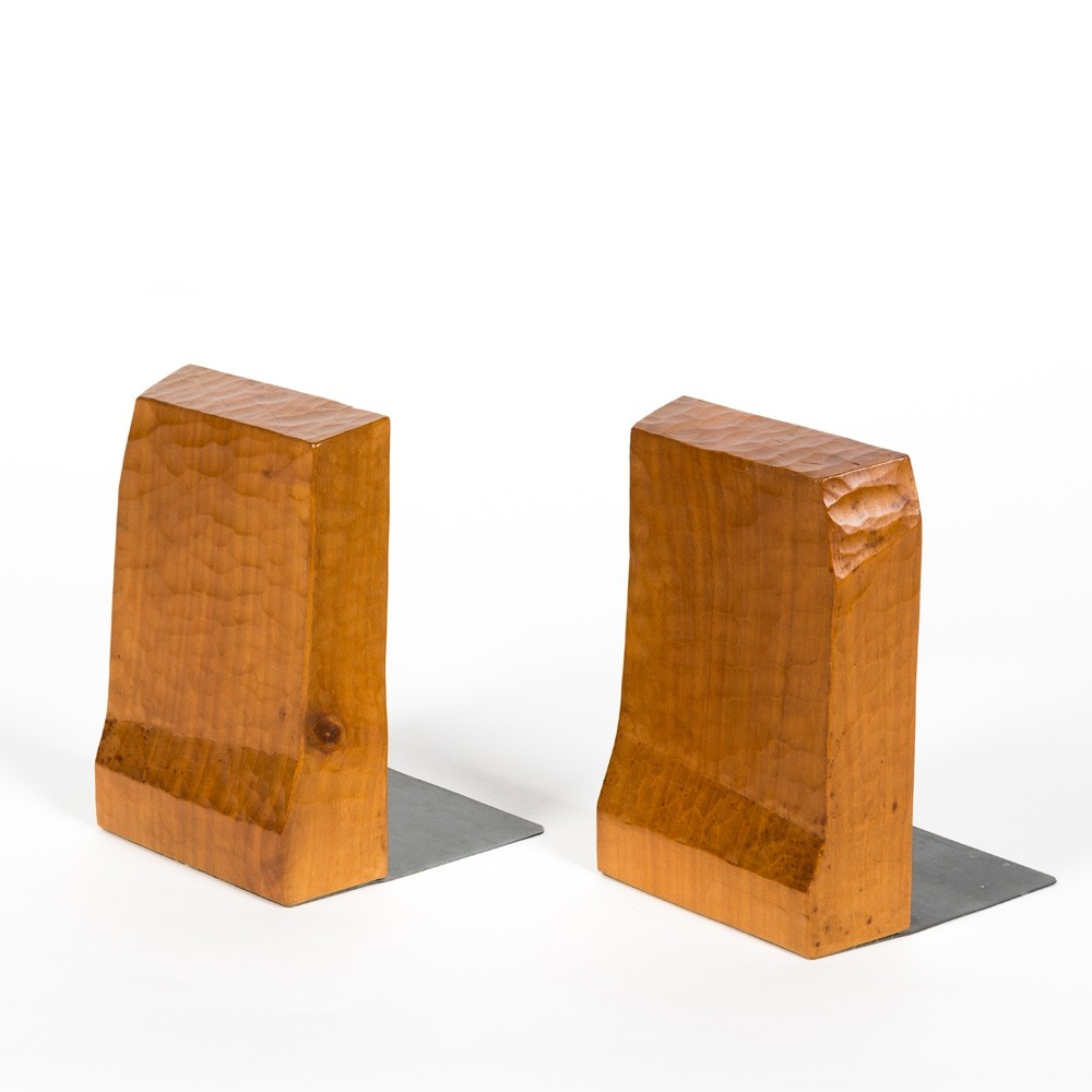 Pair of bookends made of solid fruitwood