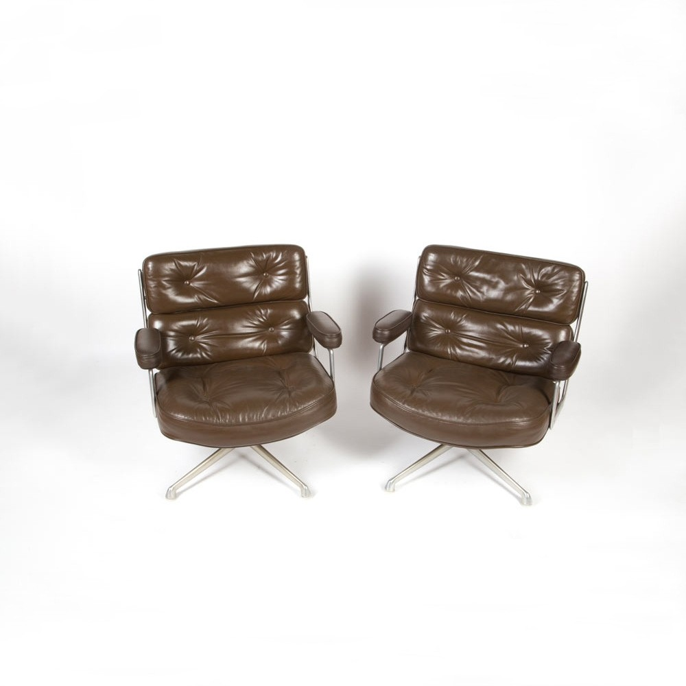 Pair of Lounge low seating swivel armchairs by Charles & Ray Eames