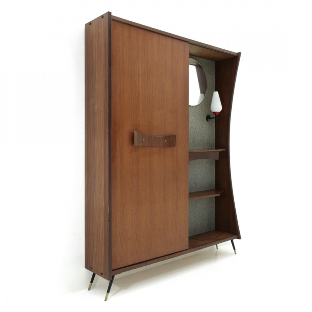 Mid century modern cabinet with mirror & light, 1950s